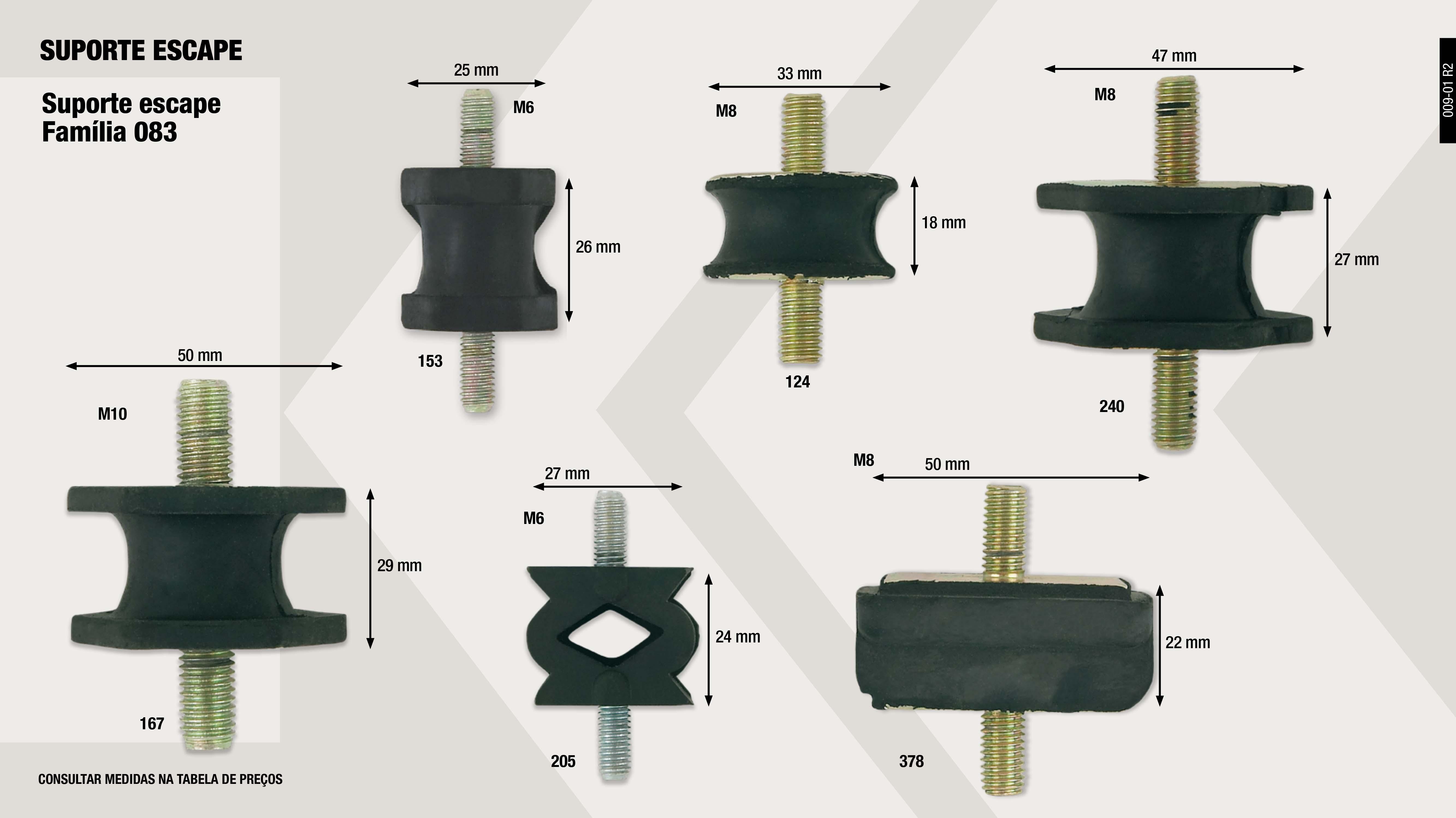 SUPORTE ESCAPE PEUGEOT 505-504                              ,  SUPORTE RENAULT 6                                           ,  SUPORTE MINI (M-8) 32                                       ,  SUPORTE ESCAPE RENAULT 6-12 (M-10)                          ,  SUPORTE ESCAPE RENAULT 5-14                                 ,  SUPORTE ESCAPE RENAULT 4-5-6 (M-6)                          ,  SUPORTE R-18 (M-8)                                          ,