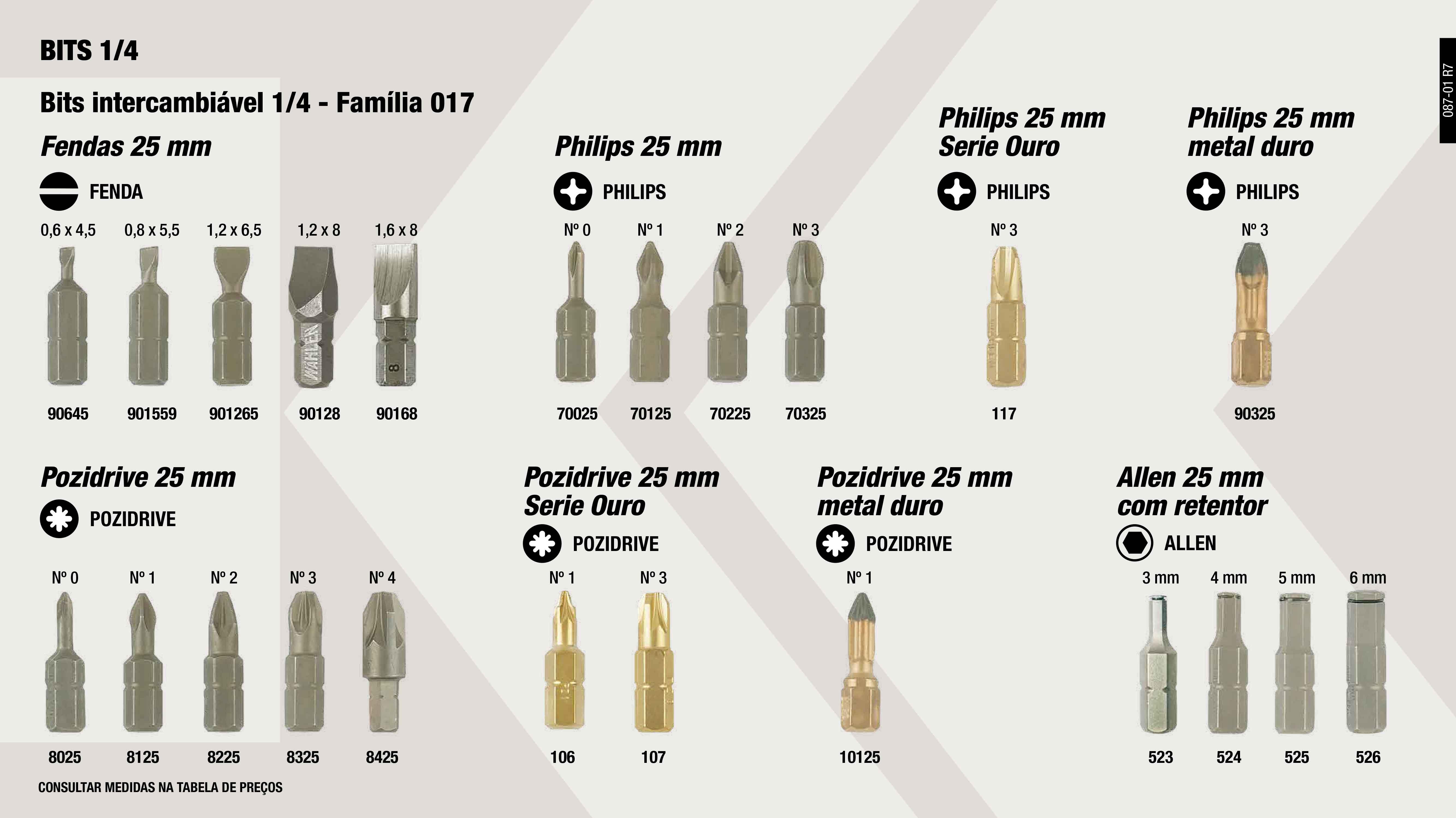 PONTA PHILIPS 25MM 1/4 Nº2                                  ,  PONTA ALLEN 1/4 25MM-6MM C/RETENTOR                         ,  PONTA ALLEN 1/4 25MM-3MM C/RETENTOR                         ,  BIT FENDAS 1/4 25MM 1,2X8                                   ,  PONTA PLANA 1/4 25MM. 1,6X8                                 ,  PONTA SUPER-BIT PH. SERIE OURO Nº3                          ,  PONTA PLANA 1/4 25MM. 1,2X6,5                               ,  PONTA SUPER-BIT PZ. SERIE OURO Nº3                          ,  PONTA PHILIPS 25MM 1/4 Nº1                                  ,  PONTA PHILIPS 25MM 1/4 Nº4                                  ,  PONTA POZIDRIVE 1/4 25MM. N.0                               ,  PONTA POZIDRIVE 1/4 25MM Nº1                                ,  PONTA ALLEN 1/4 25MM-4MM C/RETENTOR                         ,  PONTA PHILIPS 25MM 1/4 Nº3                                  ,  PONTA POZIDRIVE 1/4 25MM Nº3                                ,  PONTA PLANA 1/4 25MM. 0,8X5,5                               ,  PONTA PLANA 1/4 25MM. 0,6X4,5                               ,  PONTA POZIDRIVE 1/4 25MM Nº4                                ,  PONTA ALLEN 1/4 25MM-5MM C/RETENTOR                         ,  PONTA PHILIPS 25 MM 1/4 Nº0                                 ,  PONTA POZIDRIVE 1/4 25MM Nº2                                ,